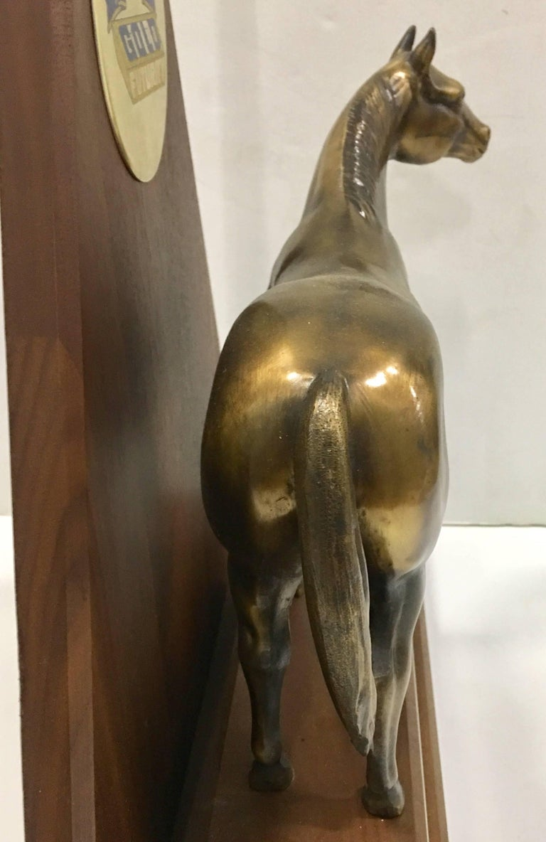 Solid Brass and Walnut Mounted Championship Horse Trophy, 1989 In Excellent Condition For Sale In West Palm Beach, FL