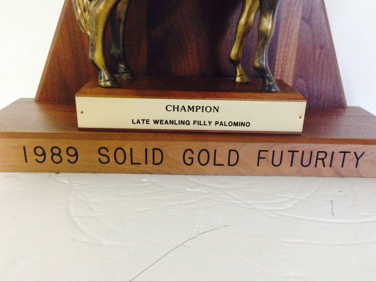 Solid Brass and Walnut Mounted Championship Horse Trophy, 1989 For Sale 3