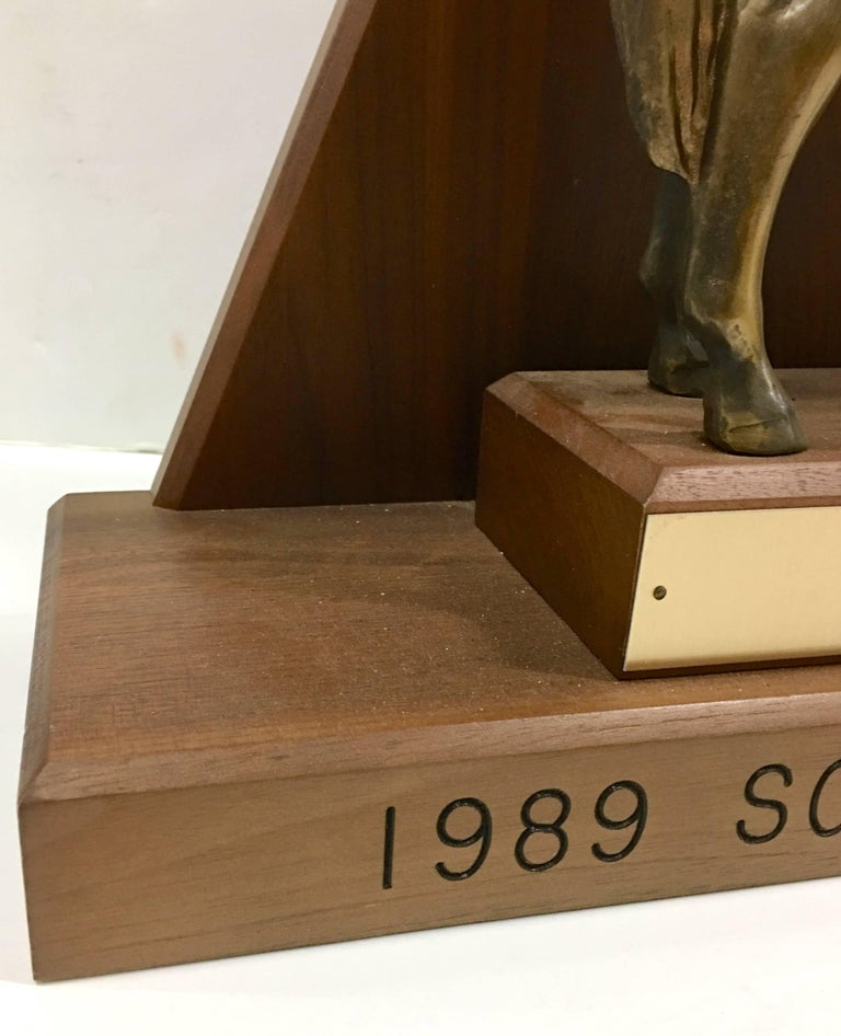 Solid Brass and Walnut Mounted Championship Horse Trophy, 1989 For Sale 4