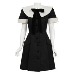 1989 Valentino Couture Black & White Wide Collar Cuff Silk-Faille Babydoll Dress