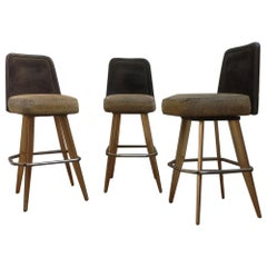 1989 Vintage American Style Bar Stools with Gold Metal Frames