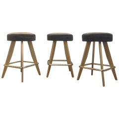 1989 Vintage American Style Casino Stools with Gold Metal Frames