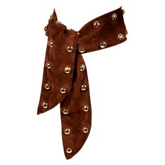 1989 YVES SAINT LAURENT brown suede belt with oversized gold studs