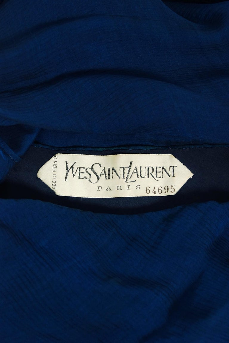 1989 Yves Saint Laurent Haute-Couture Cobalt Blue Silk Off-Shoulder Draped Gown For Sale 6