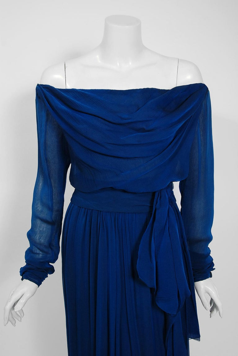 1989 Yves Saint Laurent Haute-Couture Cobalt Blue Silk Off-Shoulder Draped Gown In Excellent Condition For Sale In Beverly Hills, CA