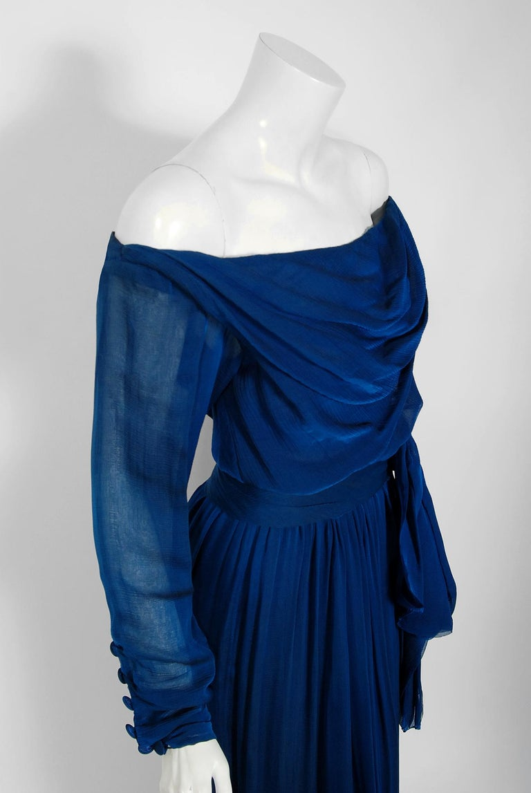 Women's 1989 Yves Saint Laurent Haute-Couture Cobalt Blue Silk Off-Shoulder Draped Gown For Sale