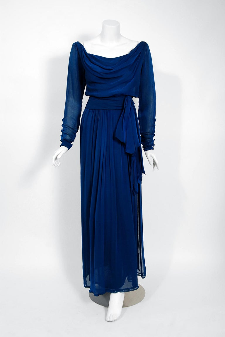1989 Yves Saint Laurent Haute-Couture Cobalt Blue Silk Off-Shoulder Draped Gown For Sale 2