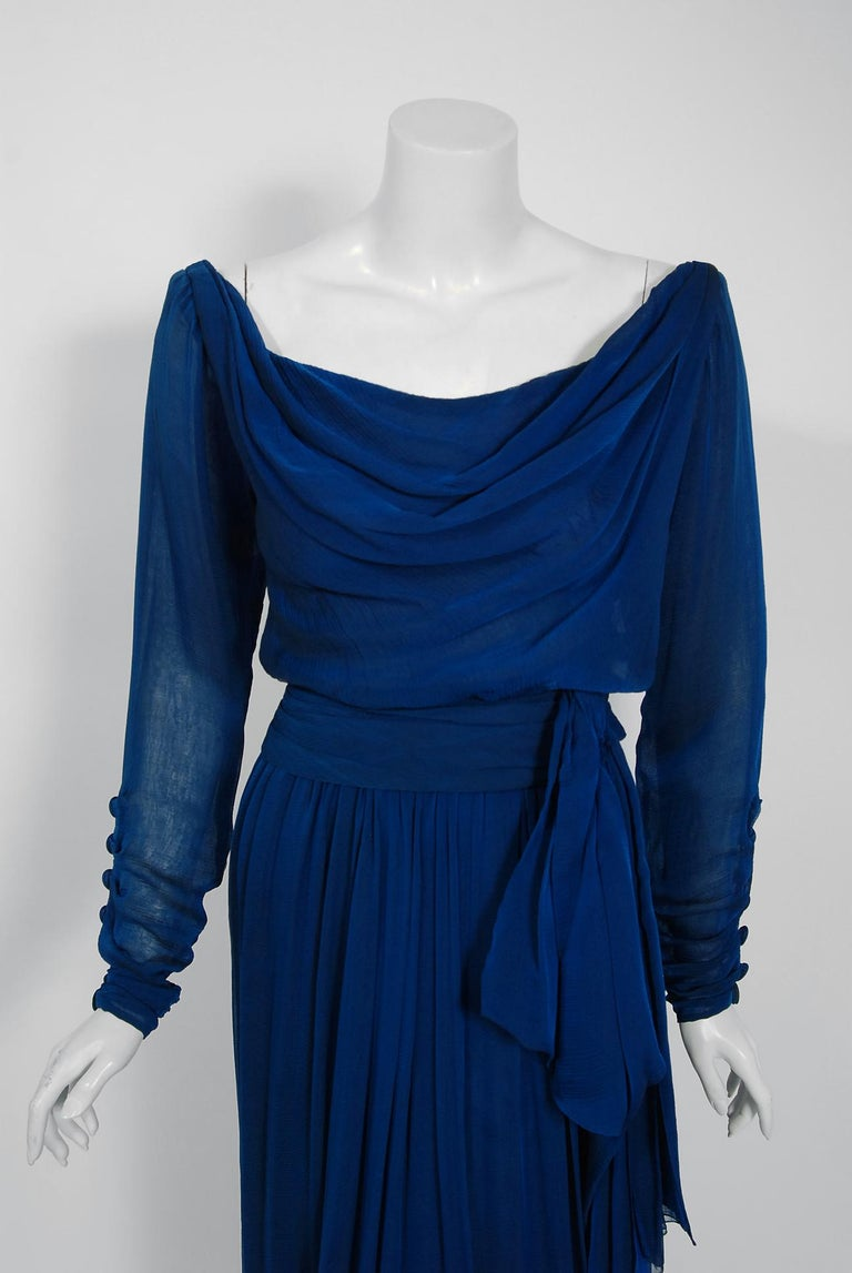 1989 Yves Saint Laurent Haute-Couture Cobalt Blue Silk Off-Shoulder Draped Gown For Sale 3