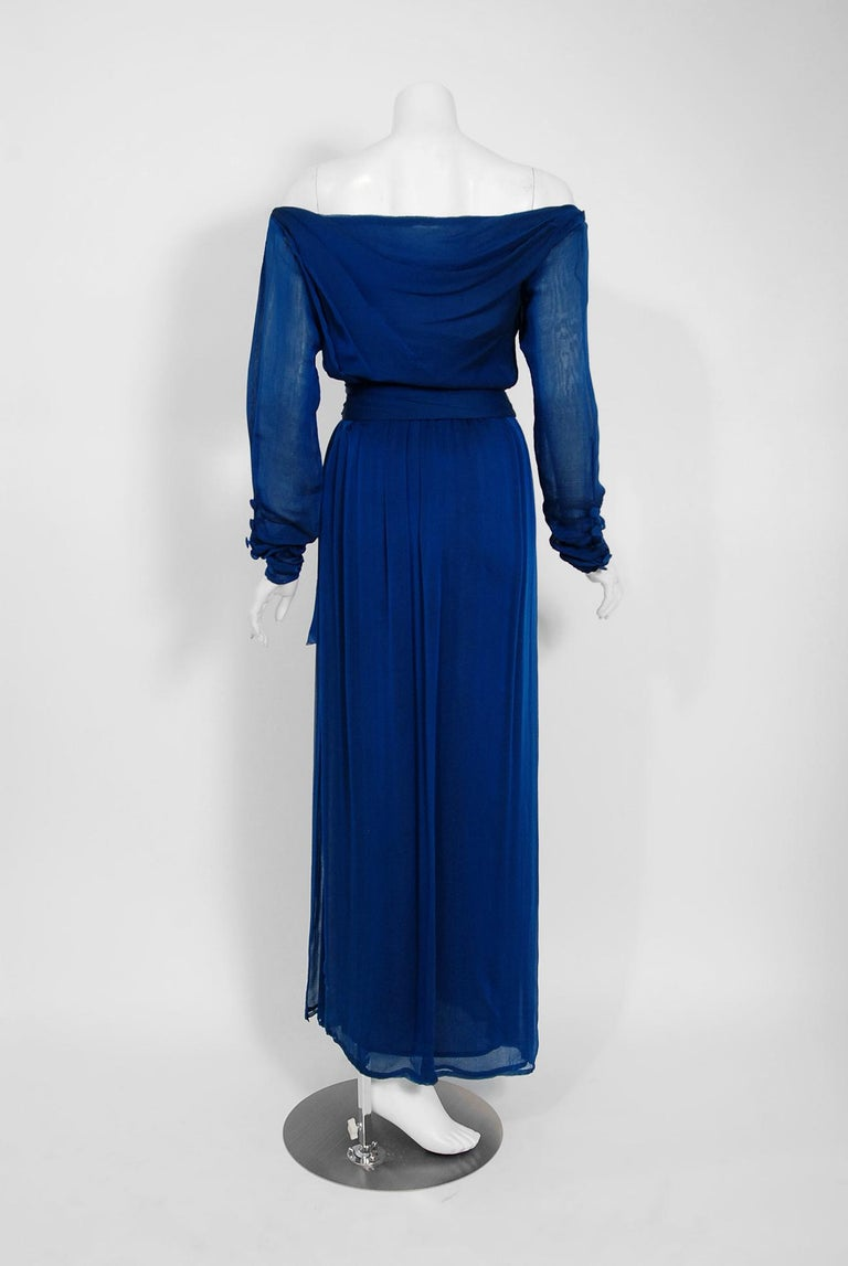 1989 Yves Saint Laurent Haute-Couture Cobalt Blue Silk Off-Shoulder Draped Gown For Sale 4