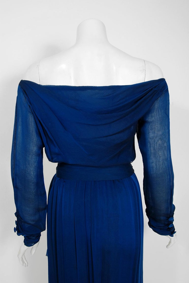 1989 Yves Saint Laurent Haute-Couture Cobalt Blue Silk Off-Shoulder Draped Gown For Sale 5
