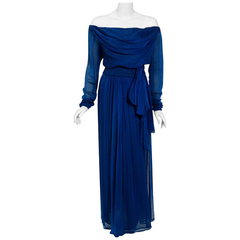 1989 Yves Saint Laurent Haute-Couture Cobalt Blue Silk Off-Shoulder Draped Gown For Sale