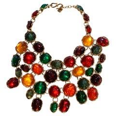 1989 YVES SAINT LAURENT haute couture poured glass bib necklace