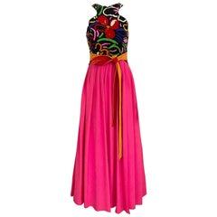 1989s Geoffrey Beene Hot Pink and Orange Jersey Print Dress