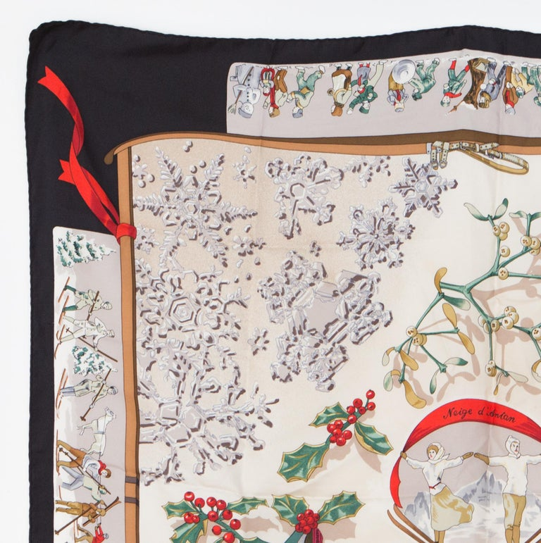 1989s Hermes silk scarf Neige d Antan by Cathy Latham from Hermès Vintage featuring a a black border.  In excellent vintage condition. Made in France. 35,4in. (90cm) X 35,4in. (90cm) We guarantee you will receive this  iconic item as described and