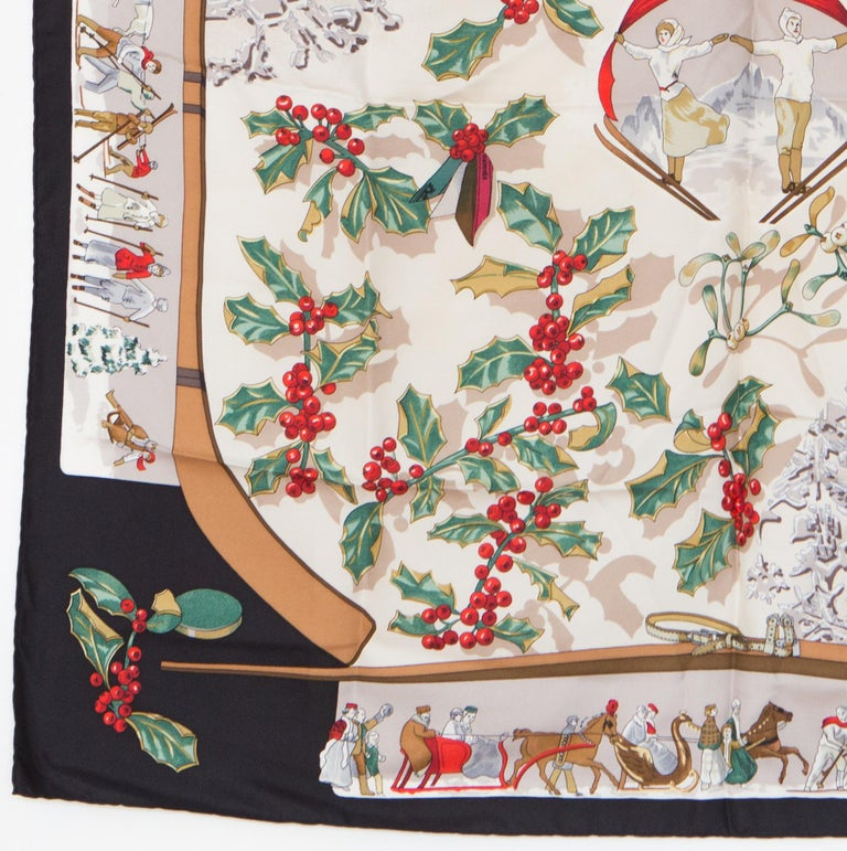 1989s Hermes Neige d Antan by Cathy Latham Silk Scarf In Excellent Condition In Paris, FR