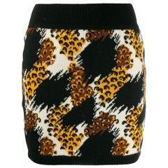 1989s Winter Iconic Yves Saint Laurent Animal Motive Mini Skirt