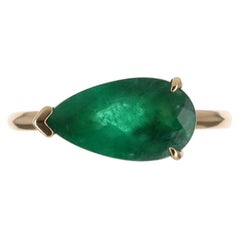 1.98cts 14K Bezel East to West Set Emerald Pear Solitaire Ring