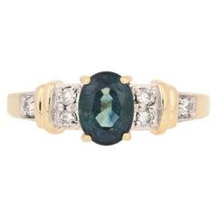1.98ctw Oval Cut Sapphire & Diamond Ring, 18k Yellow Gold