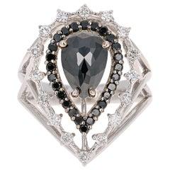 1.99 Carat Black and White Diamond 14 Karat White Gold Victorian Cocktail Ring