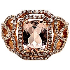 1.99 Carat Cushion Shaped Morganite Ring in 18 Karat Rose Gold with Diamonds