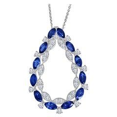 1.99 Carat Marquise Cut Blue Sapphire and Round Diamond Pendant