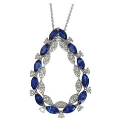 DiamondTown 1.99 Carat Marquise Cut Blue Sapphire and Round Diamond Pendant