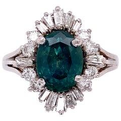 1.99 Carat Montana Sapphire and Diamond Gold Ballerina Ring Fine Estate Jewelry