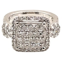 1.99 Carat Princess Cluster and Round Diamond Ring