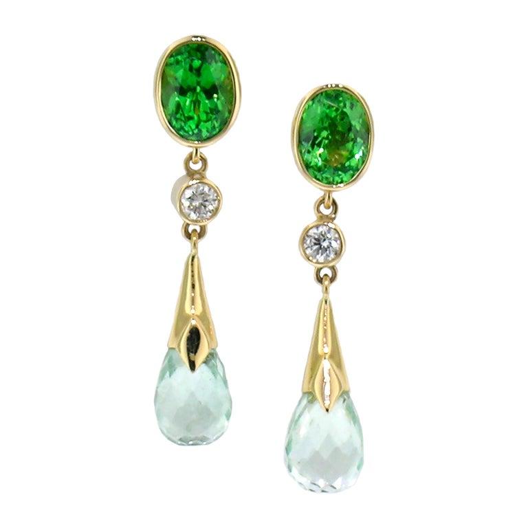 1.99ct Tsavorite Garnet + 4.94ct Mint Tourmaline 18kt Earrings by Cynthia Scott For Sale