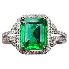 1.99 Certified Carat Emerald Diamond Ring 18 Karat White Gold