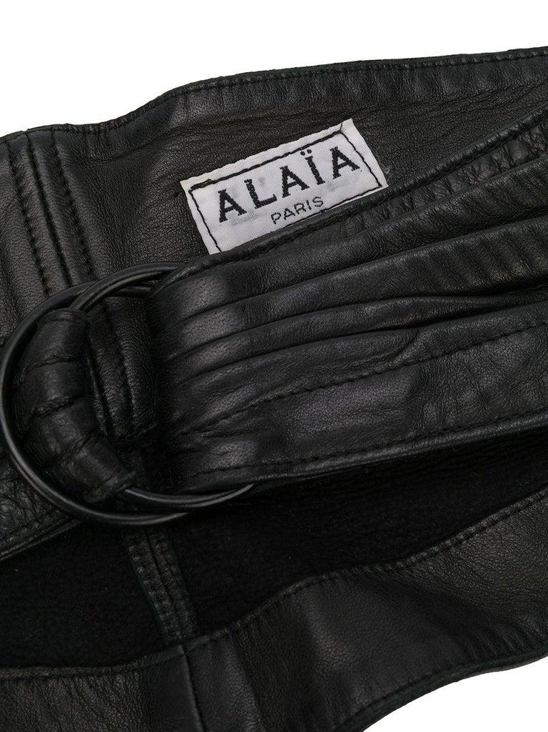 1990 Alaia Black Lamb Leather Corset Belt  In Excellent Condition For Sale In Paris, FR