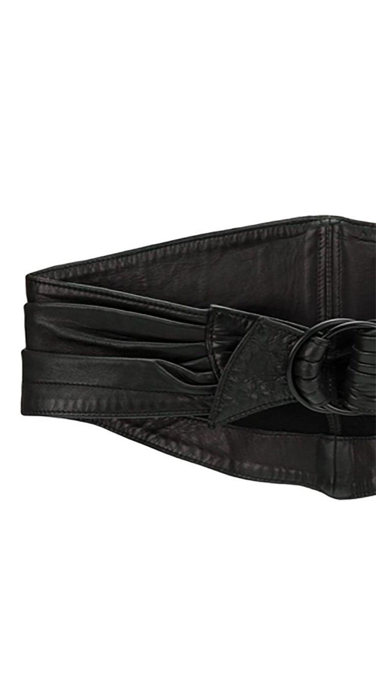 Women's 1990 Alaia Black Lamb Leather Corset Belt  For Sale