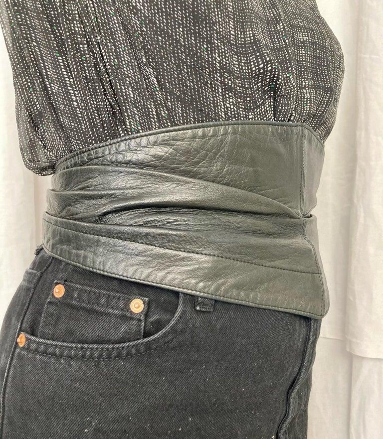 1990 Alaia Black Lamb Leather Corset Belt  For Sale 3