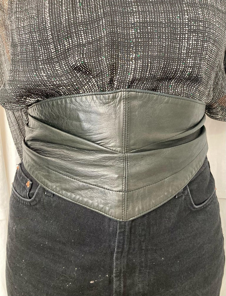 1990 Alaia Black Lamb Leather Corset Belt  For Sale 2