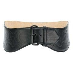 1990 Alaia Leather Black Waves Corset Belt