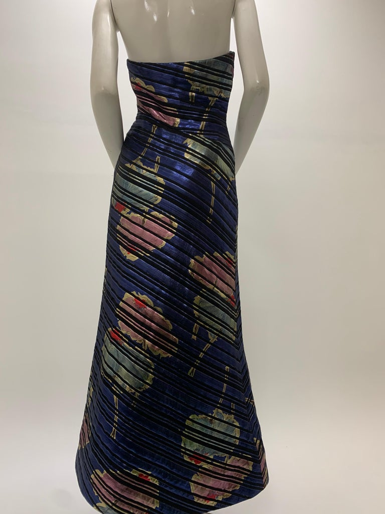 1990 Arnold Scaasi Purple Floral Print Brocade Bias Cut Strapless Corset Gown  For Sale 1
