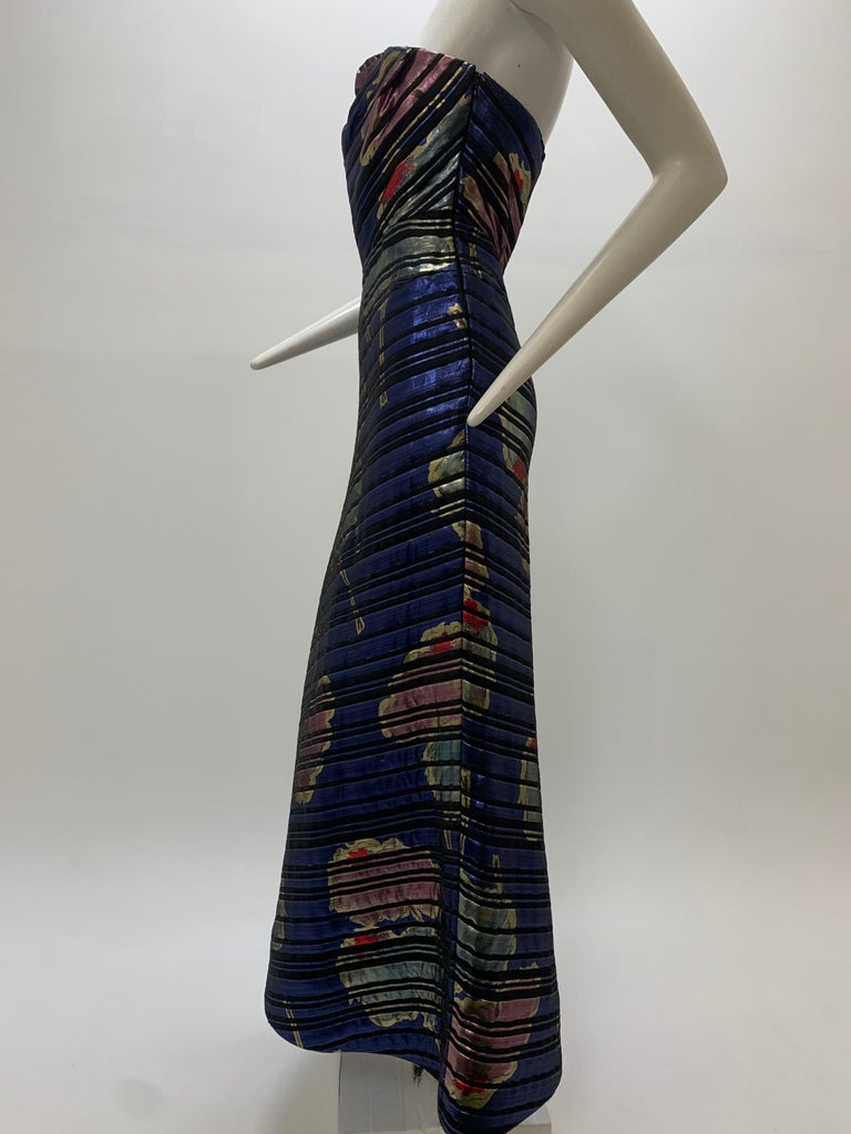 1990 Arnold Scaasi Purple Floral Print Brocade Bias Cut Strapless Corset Gown  For Sale 4