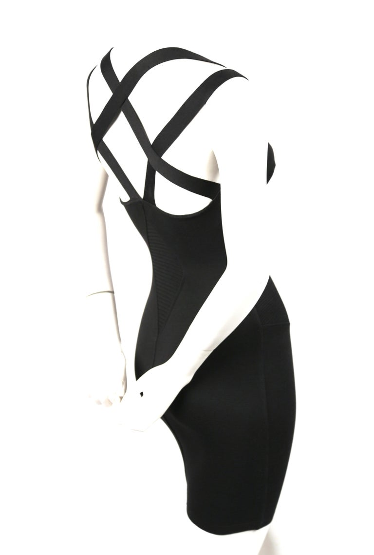 1990 AZZEDINE ALAIA black runway dress with strappy back In Good Condition For Sale In San Fransisco, CA