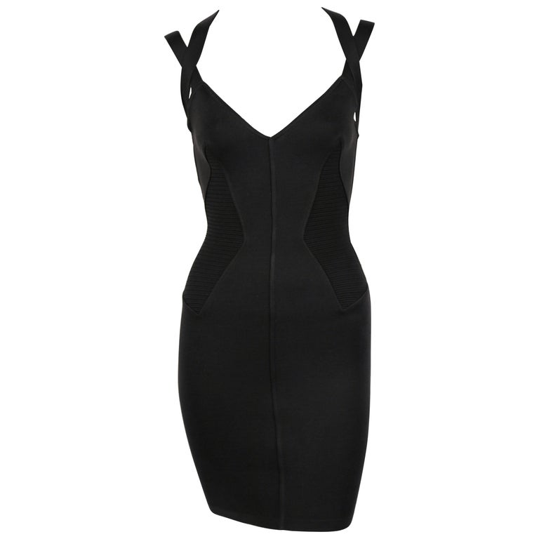 1990 AZZEDINE ALAIA black runway dress with strappy back For Sale