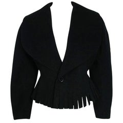 1990 Azzedine Alaia Black Wool Wide Portrait-Collar Peplum Fringe Cropped Jacket