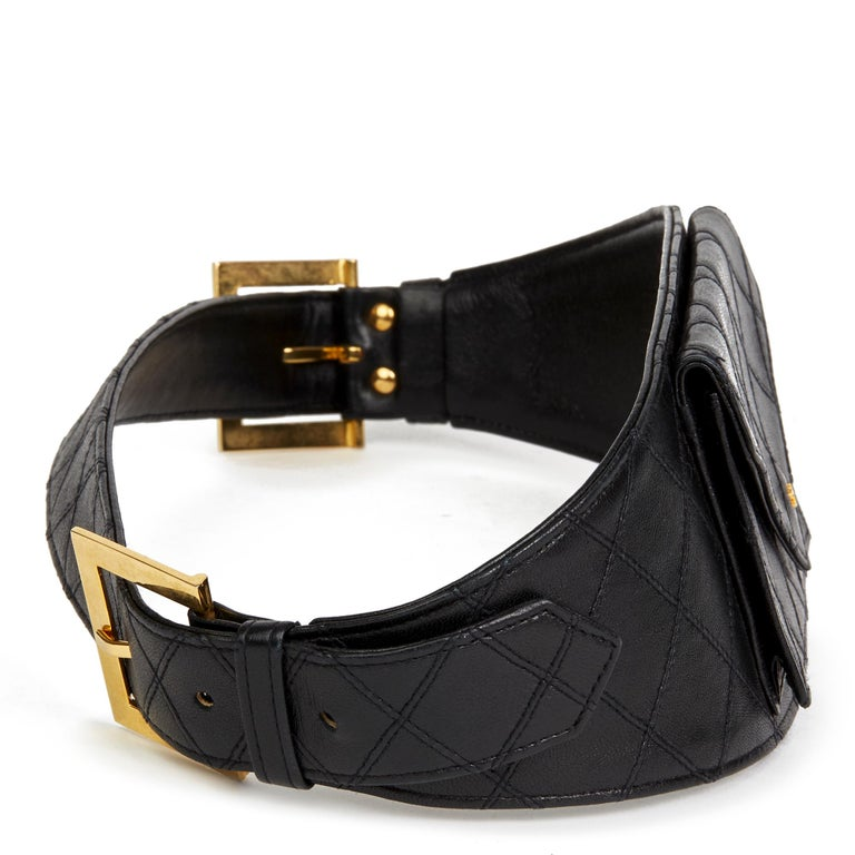 CHANEL Black Quilted Lambskin Vintage Timeless Belt Bag  Reference: HB2476 Age (Circa): 1990 Authenticity Details: (Made in Italy) Gender: Ladies Type: Belt Bag  Colour: Black Hardware: Gold Material(s): Lambskin Leather Interior: Black