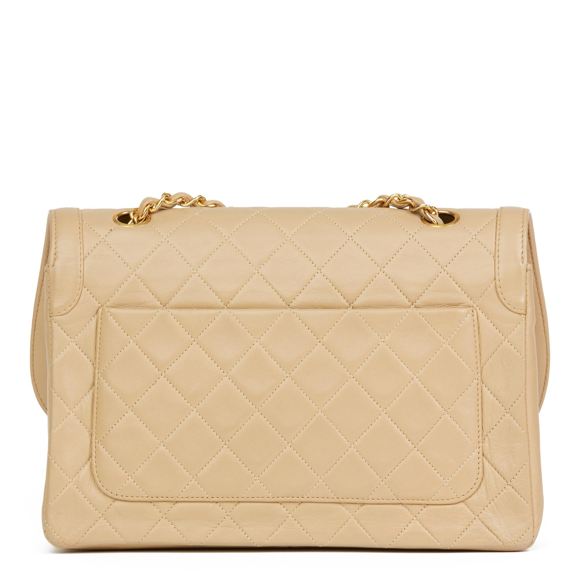 705eee3160cd 1990 Chanel Beige Quilted Lambskin Vintage Classic Single Flap Bag with  Wallet at 1stdibs