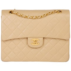1990 Chanel Beige Quilted Lambskin Vintage Medium Tall Classic Double Flap Bag