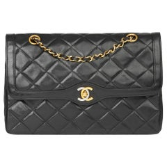 1990 Chanel Black Quilted Lambskin Vintage Large Paris Limited Double Flap Bag