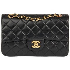 1990 Chanel Black Quilted Lambskin Vintage Small Classic Double Flap Bag