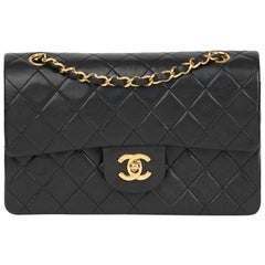 231834b589ff 1990 Chanel Black Quilted Lambskin Vintage Small Classic Double Flap Bag