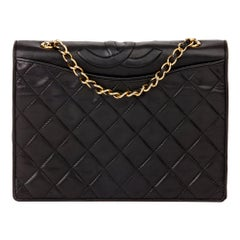 1990 Chanel Black Quilted Lambskin Vintage Timeless Single Flap Bag