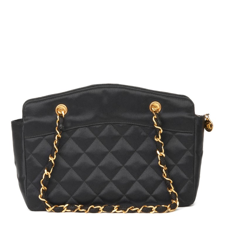 1990 Chanel Black Quilted Satin Mini Timeless Tote For Sale 1