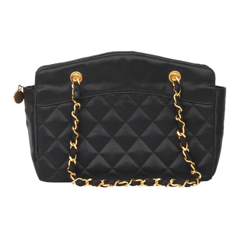 1990 Chanel Black Quilted Satin Mini Timeless Tote For Sale