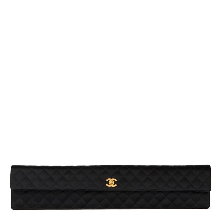 33fa7b459a47 1990 Chanel Black Quilted Satin Vintage Extra Long Classic Clutch